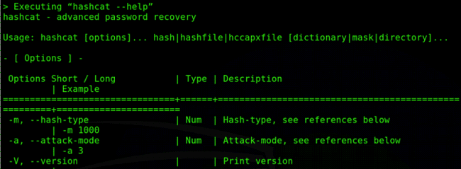 Screenshot - Hashcat password recovery tool