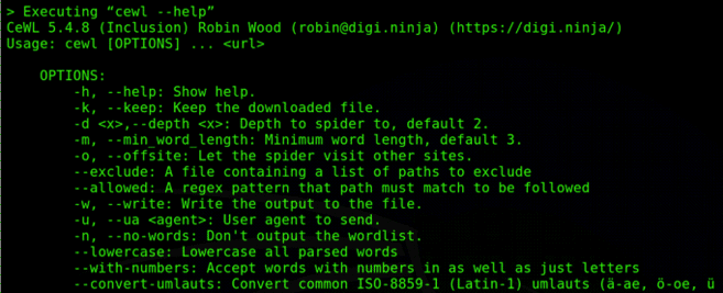 Screenshot - CeWL custom wordlist generator