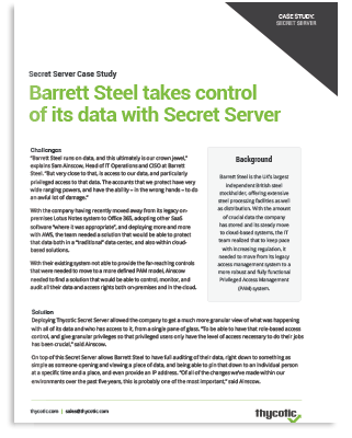 Barrett Steel takes control of its data with Secret Server