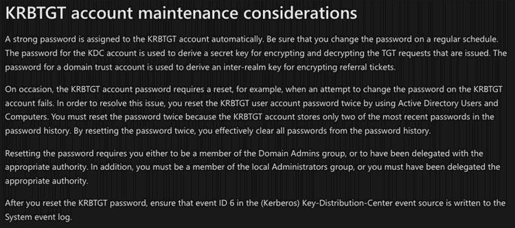 KRBTGT Account Maintenance Considerations