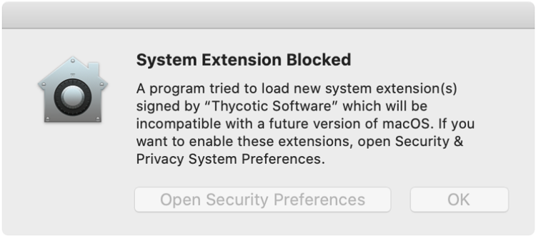 Screenshot: macOS Catalina KEXT Warning Dialog