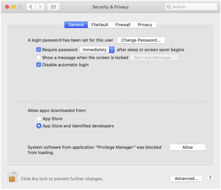 Screenshot: macOS Catalina SYSEX Security and Privacy Allow Dialog