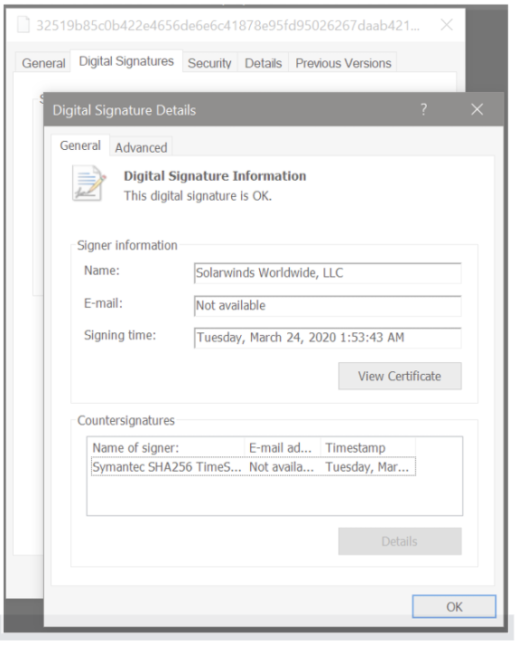 Digital Signature on SolarWinds Software with backdoor