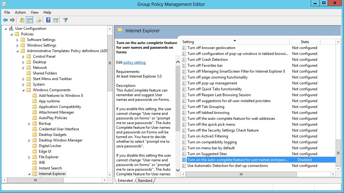 Group Policy Management Editor - Disable Password Caching for IE