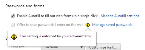 Offer to save passwords I enter on the web is now disabled