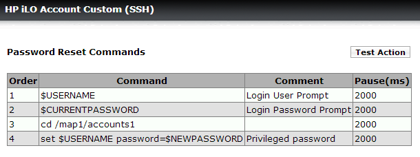 HP iLO Account Custom Password Changer Template