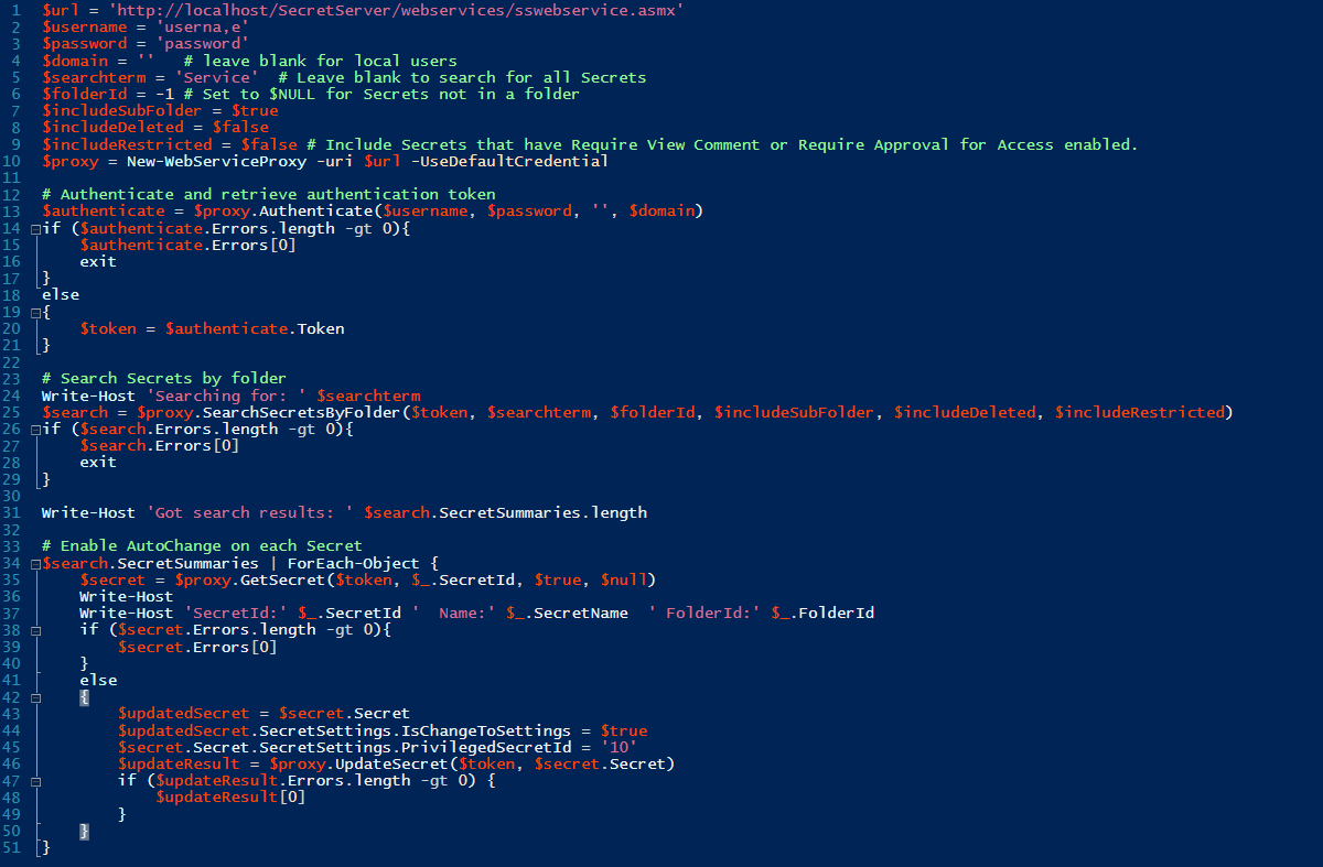 Web Services API PowerShell Script for Remote Password Changing