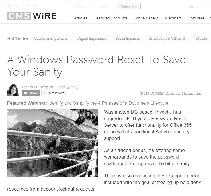 CMSwire Password Reset Article - A Windows password reset to save your sanity