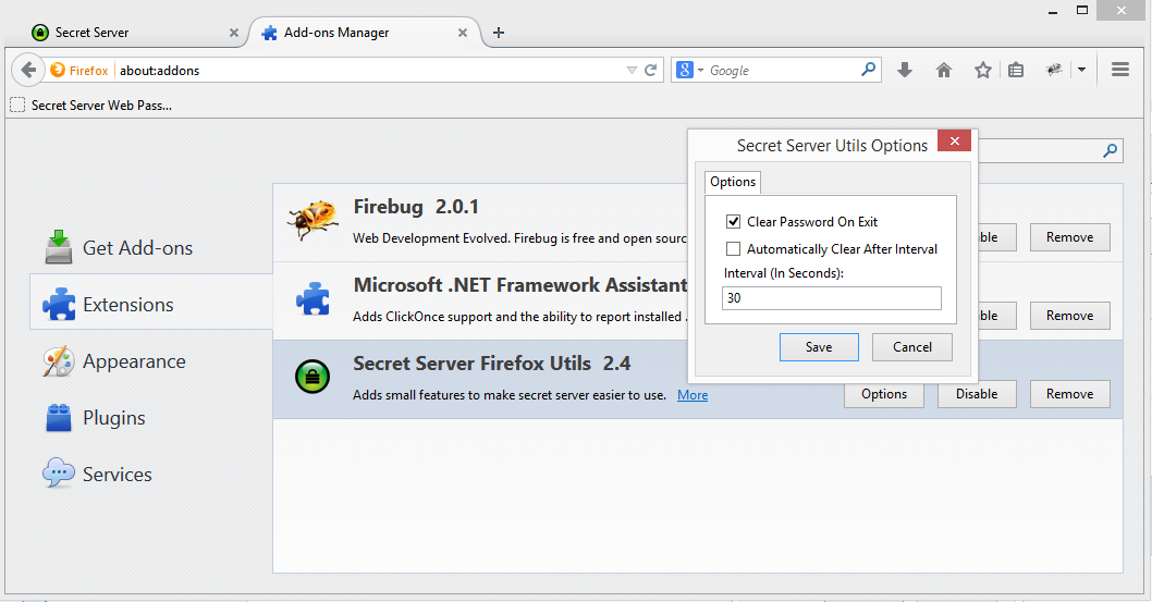 Firefox extension for Secret Server | Also: Safari, Chrome, IE