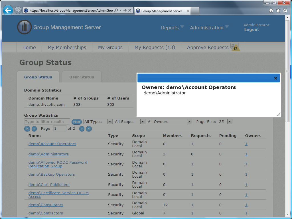 Self-service Active Directory Group Management Software User Interface - View Group status at a glance