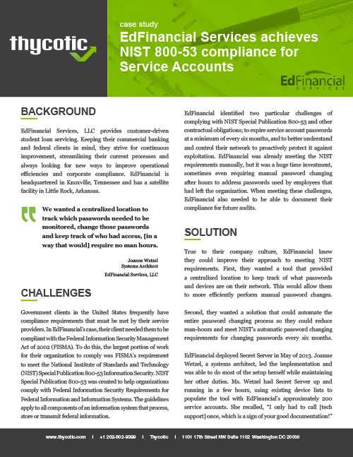 Case Study EdFinancial Services achieves NIST 800-53 compliance for Service Accounts