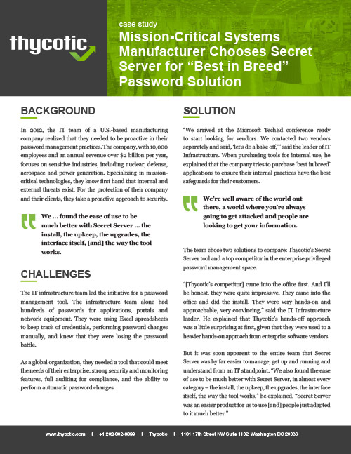 Case Study Mission-Critical Systems manufacturer chooses Secret Server for 'Best in Breed' password solution