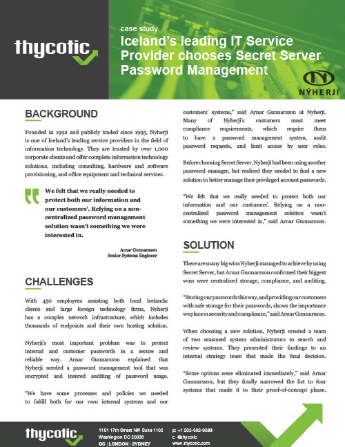 Case Study Nyherji - Iceland's leading IT Service Provider chooses Secret Server Password Management