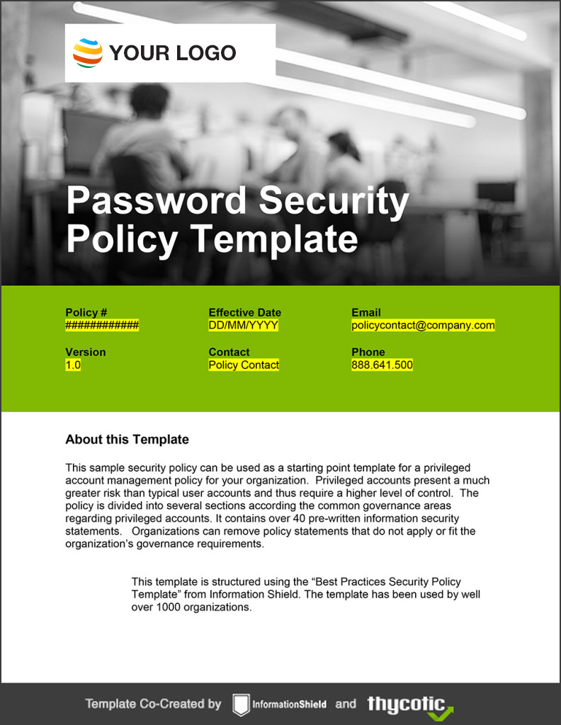 Password Policy Template – It Security Policy Template