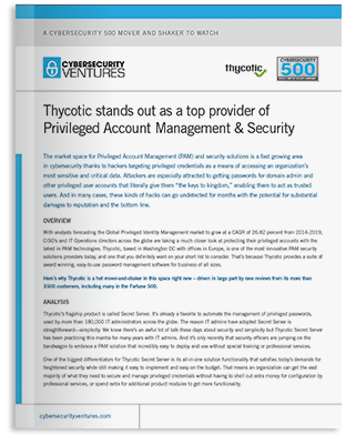 Cybersecurity Ventures: Thycotic is Cybersecurity Mover and Shaker