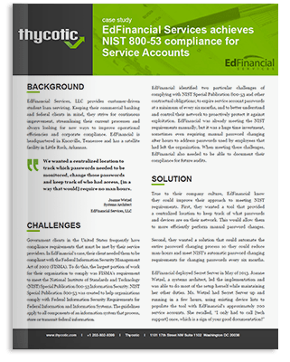 Case Study Financial Services - EdFinancial Services achieves NIST 800-53 compliance for Service Accounts