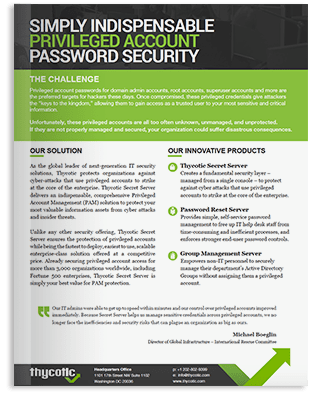 Fact Sheet - Simply Indispensable Privileged Account Password Security
