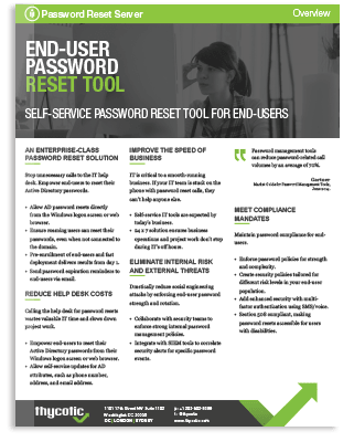 Password Reset Server Datasheet