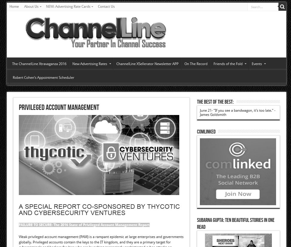 ChannelLine | A special report co-sponsored by Thycotic and Cybersecurity Ventures