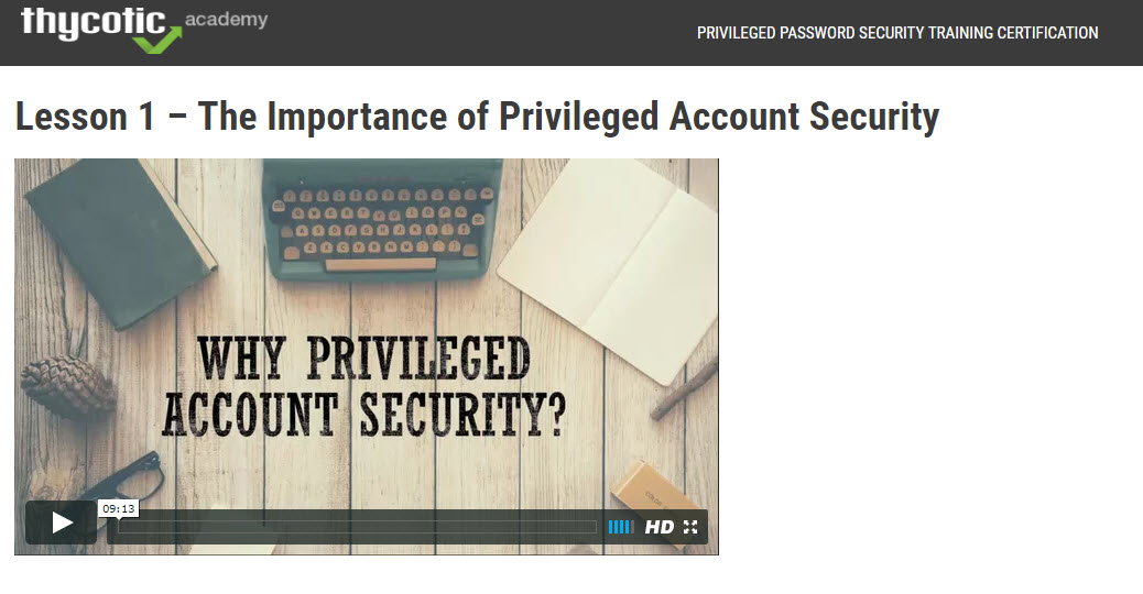 Lesson 1 - The importance of privileged account security