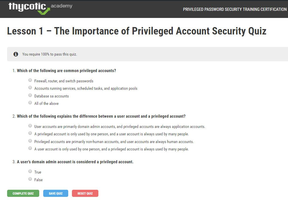Lesson 1 - The importance of privileged account security   Quiz