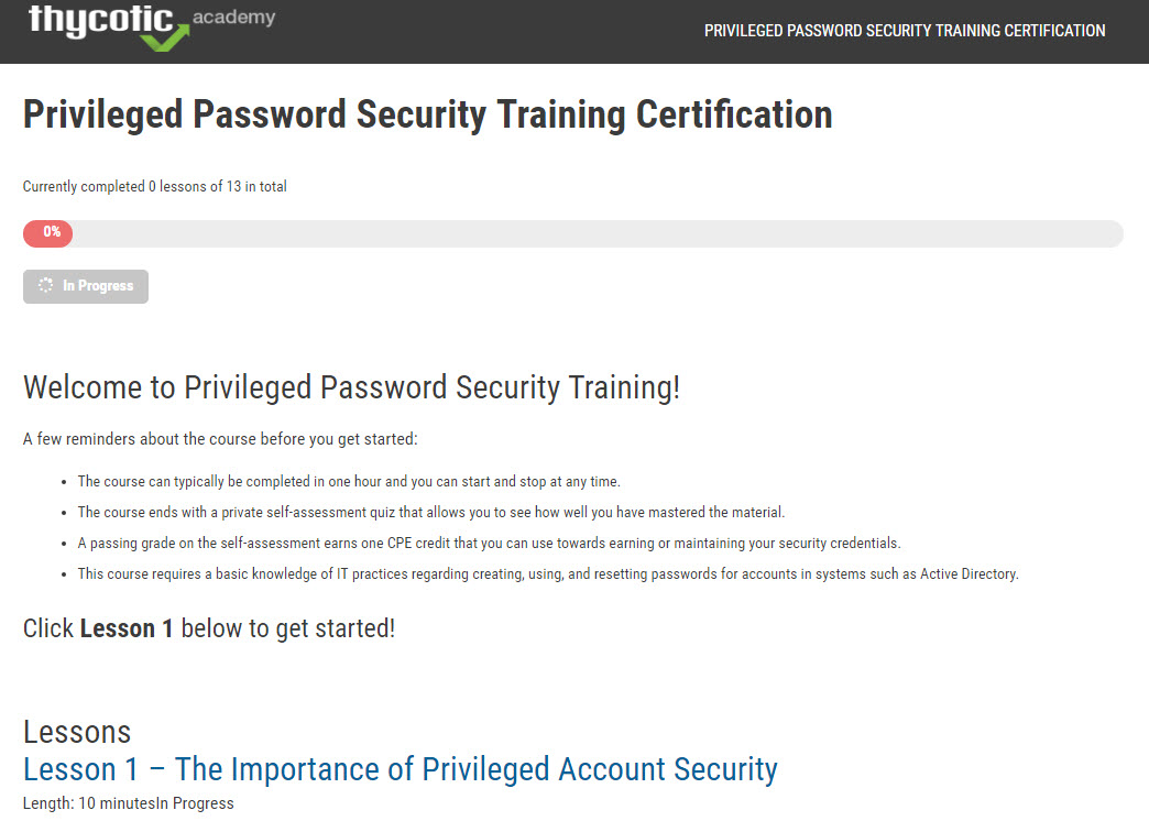 Privileged Password Security Certification