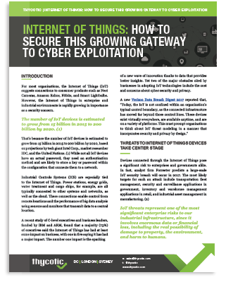 Internet of Things: How to Secure this Growing Gateway to Cyber Exploitation