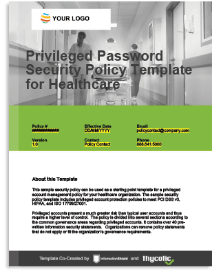 Privileged Account Policy Template For Healthcare