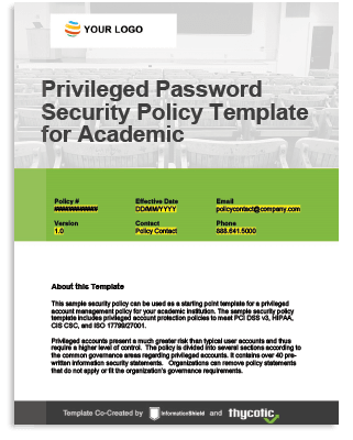 Privileged Account Policy Template For Academic