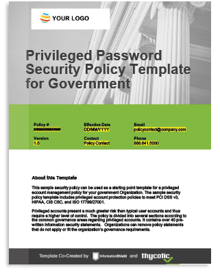 Privileged Password Security Policy Template for Government