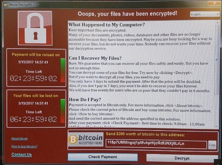 Ransomware message: your files have been encrypted