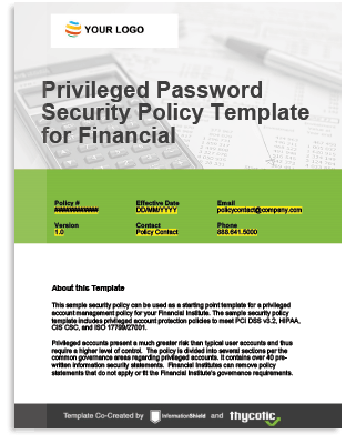 Privileged Account Policy Template For Financial Institutions