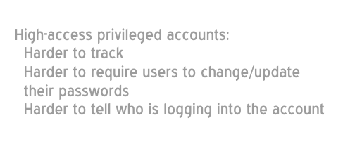 High-access privileged accounts are not assigned to a single human user like a standard user account