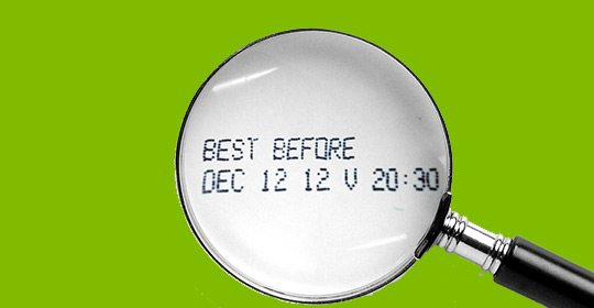 Expiration date under a magnifying glass