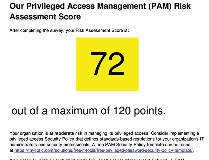 PAM Risk assessment score