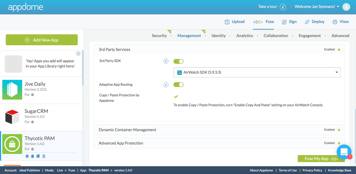 Choosing the Airwatch EMM SDK to fuse with the Thycotic iOS app