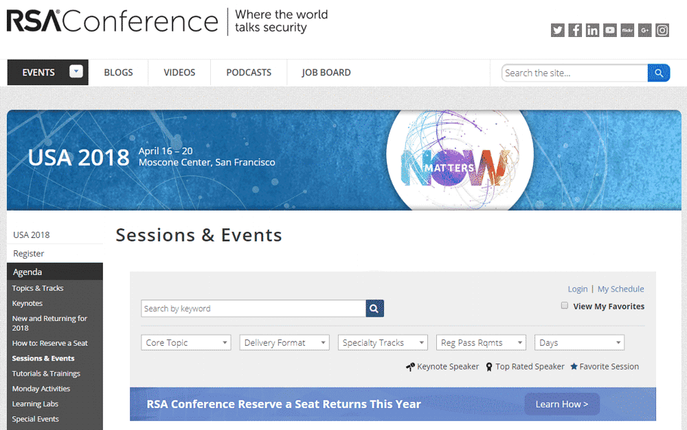 RSA 2018 reserving seats at sessions and events