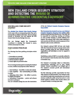 New Zealand Cyber Security Strategy And Detecting The Misuse Of Admin Credentials