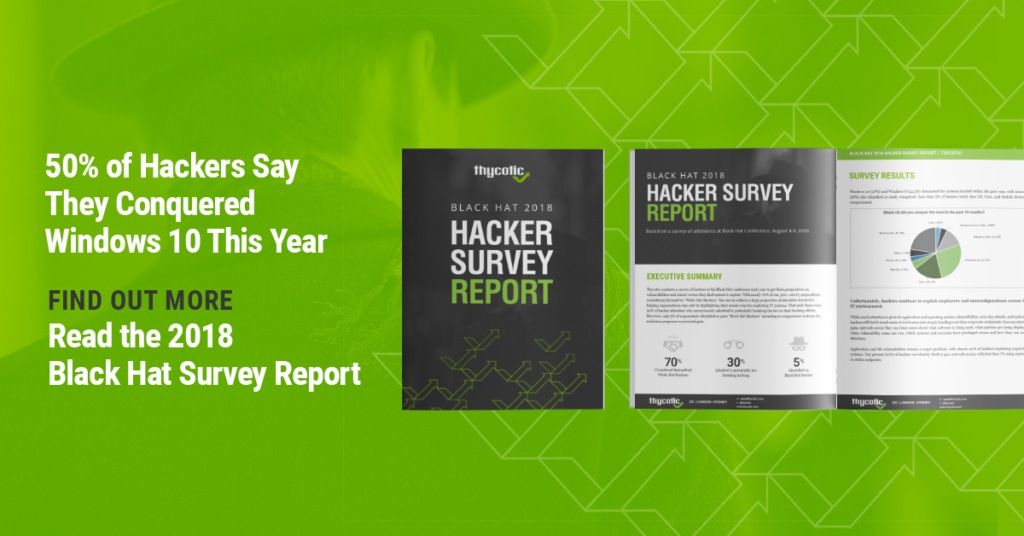 Black Hat 2018 Hacker Survey Report - 50% of hackers say they conquered Windows 10