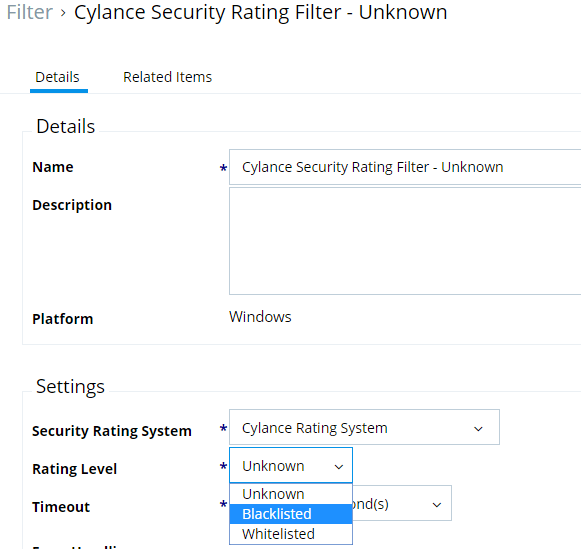 Cylance security rating filter