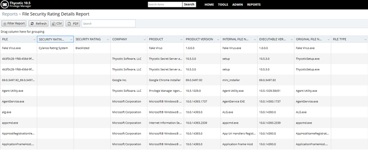 Inventoried applications with Cylance's security rating