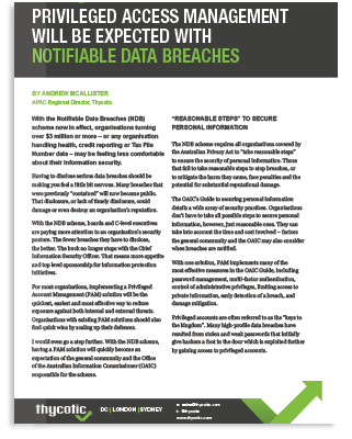 PAM Will Be Expected With Notifiable Data Breaches