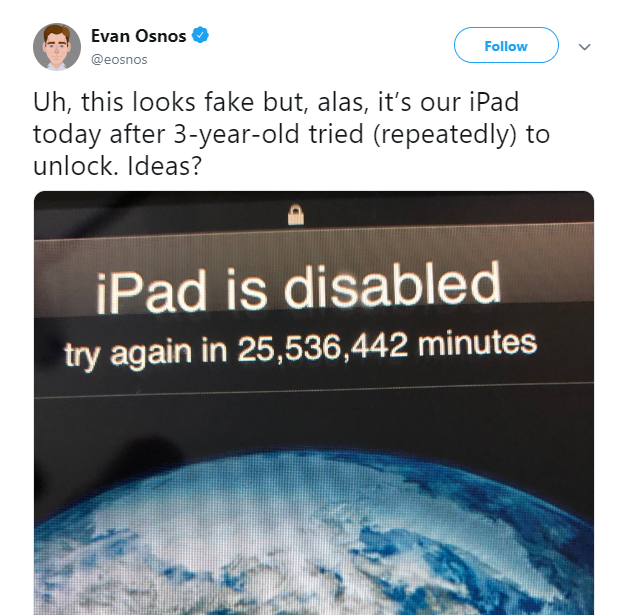 3-year old tries to unlock iPad and disables device