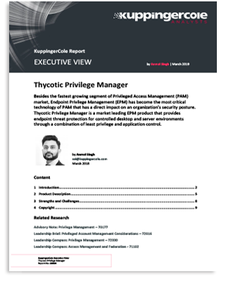 KuppingerCole: Executive View of Thycotic Privilege Manager