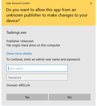 Do you want to allow this app from an unknown publisher to make changes to your device?