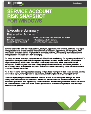 Service Account Risk Snapshot Sample Report