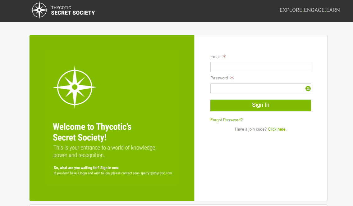 Thycotic Secret Society - Sign in here