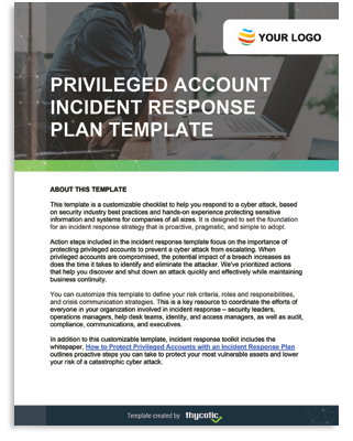 Privileged Account Incident Response Template